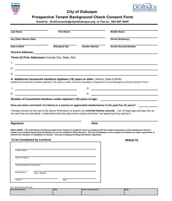 prospective tenant background check consent form