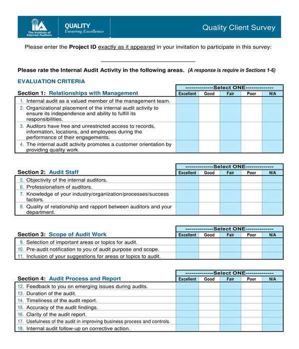 quality client survey form