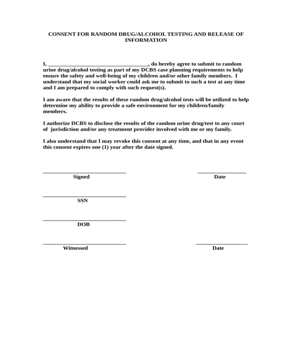 random drug alcohol testing consent and information release form