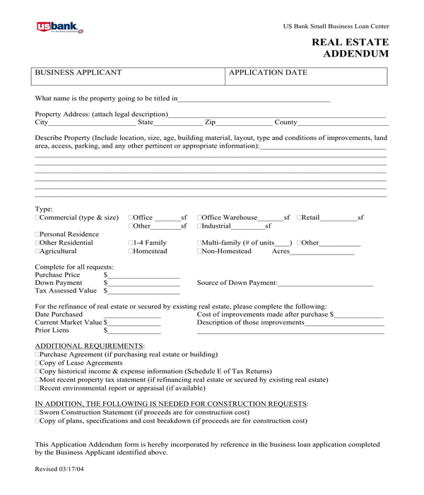 real estate addendum form sample
