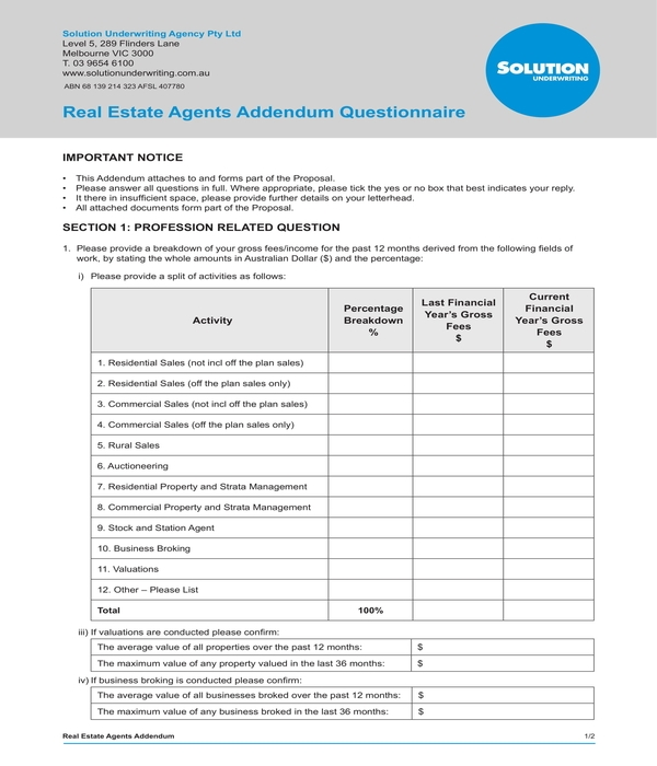 real estate agents addendum questionnaire form