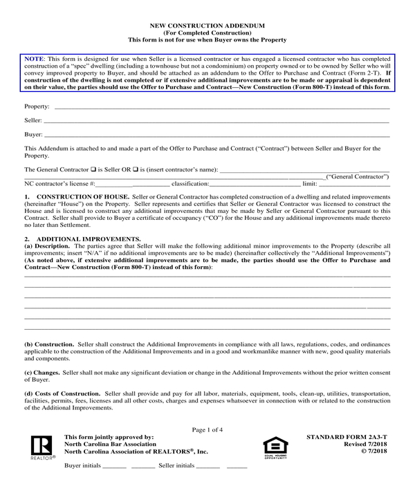 real estate new property construction addendum form