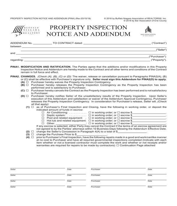 real estate property inspection notice addendum form