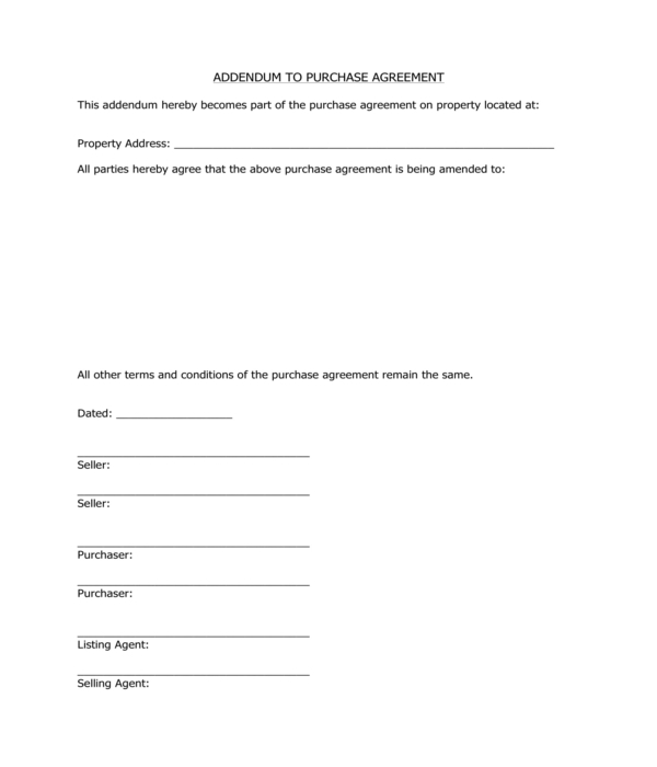 real estate purchase agreement addendum form