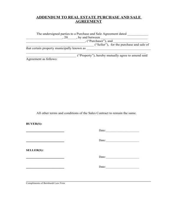 real estate purchase and sale agreement addendum form