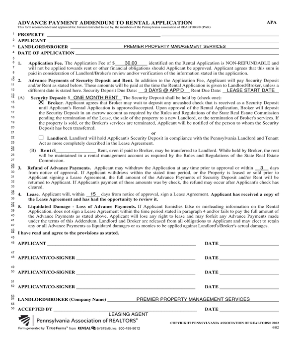 real estate rental application advance payment addendum form