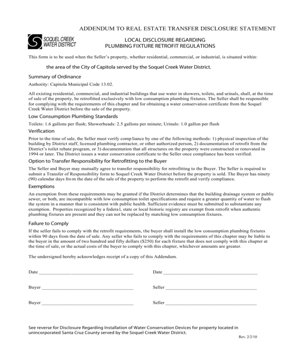 real estate transfer disclosure statement addendum form