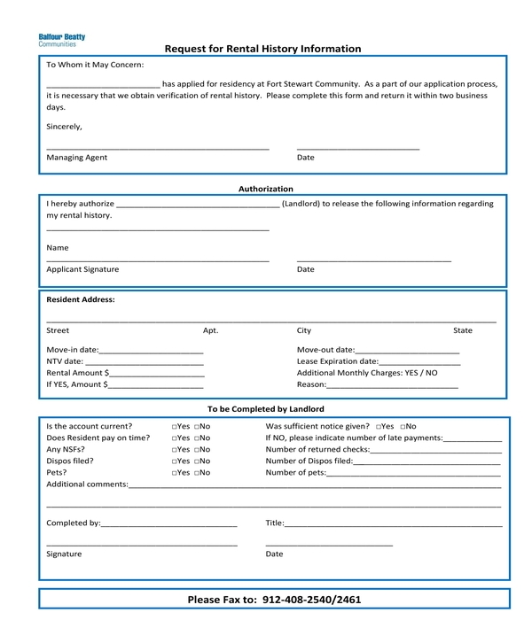 rental history information request form