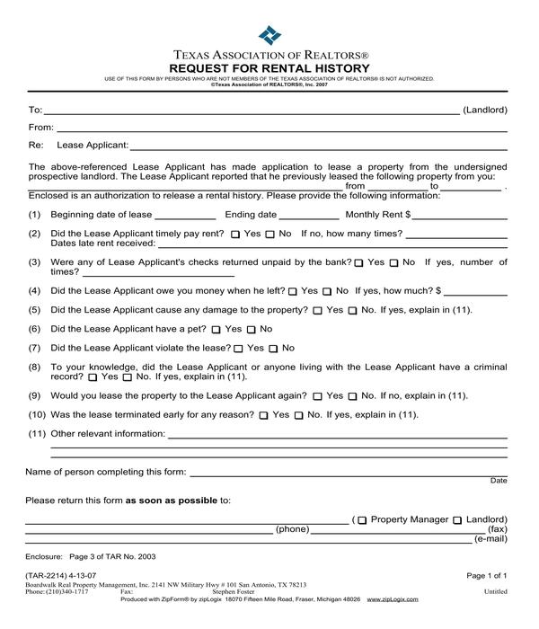 rental history request form