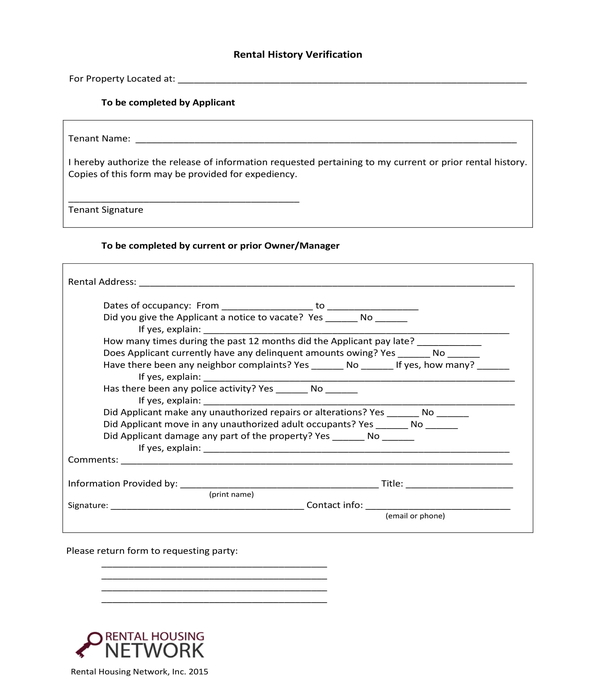 rental history verification form