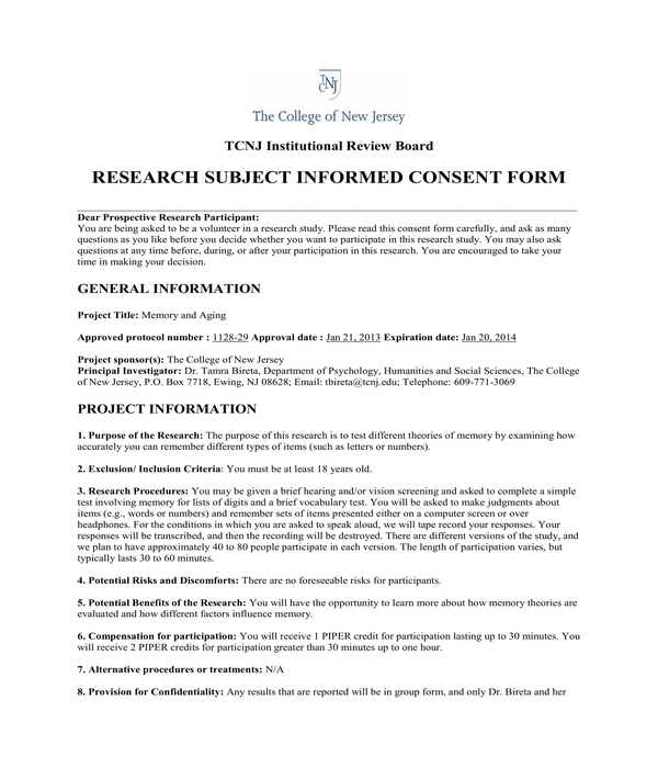 research subject informed consent form