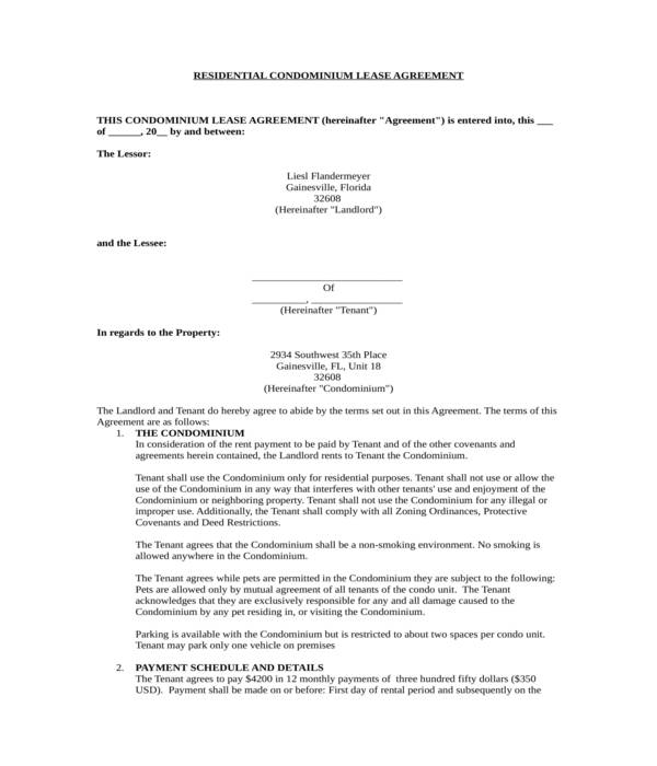 residential condominium lease agreement form
