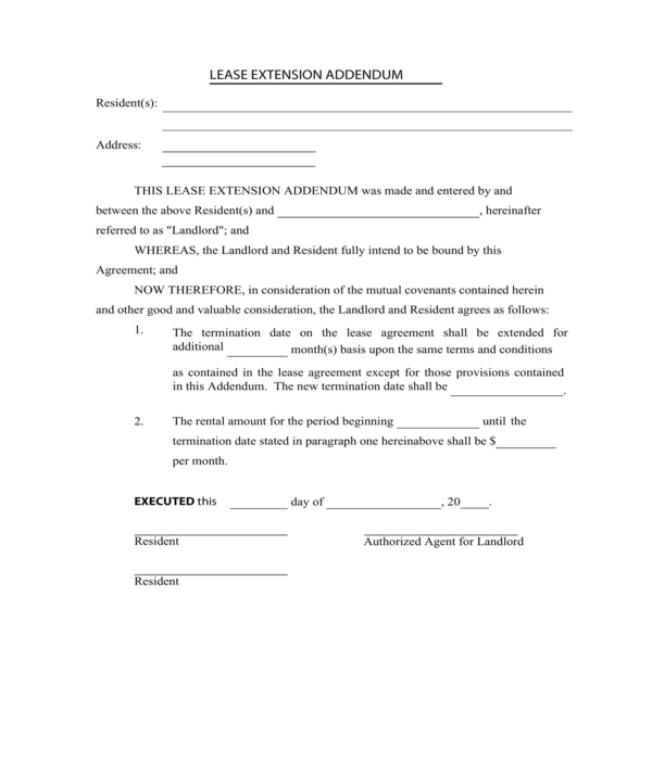 residential lease extension addendum form