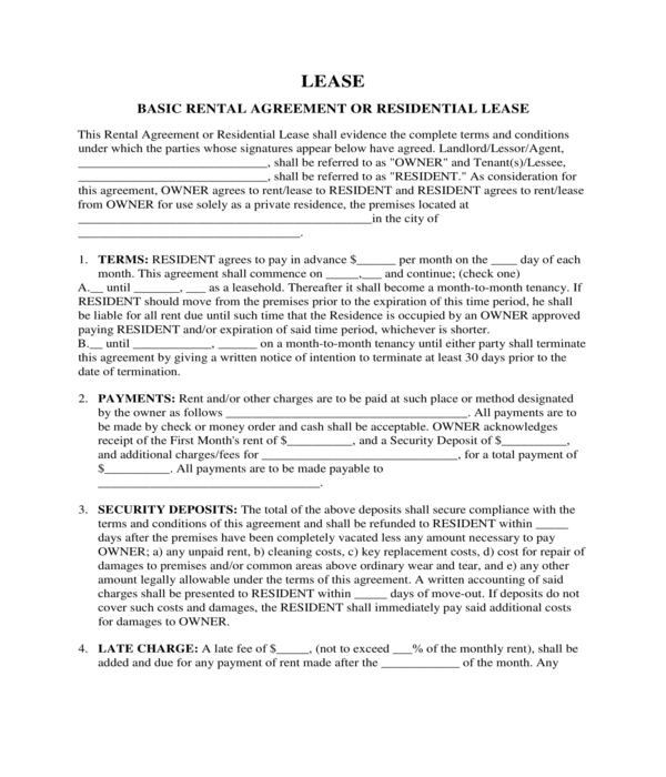 residential lease form sample
