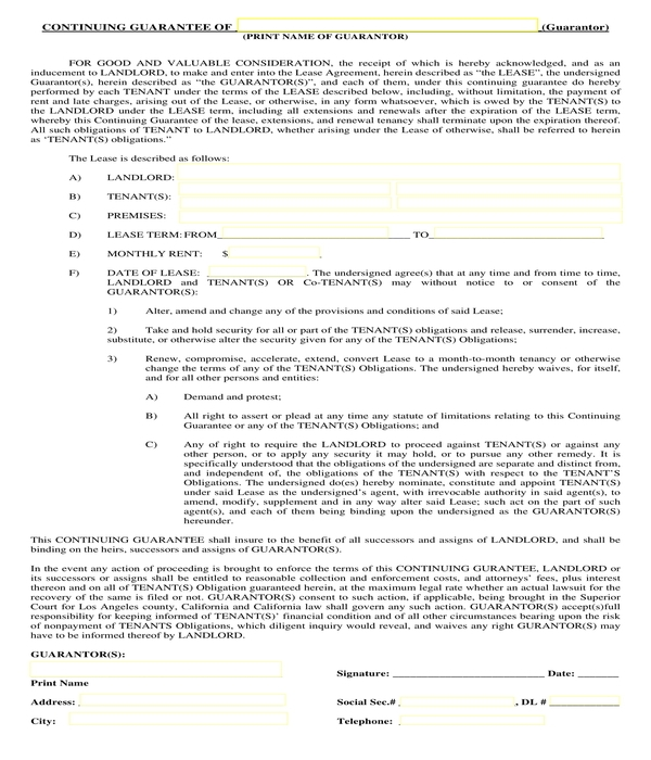 residential lease guarantor form