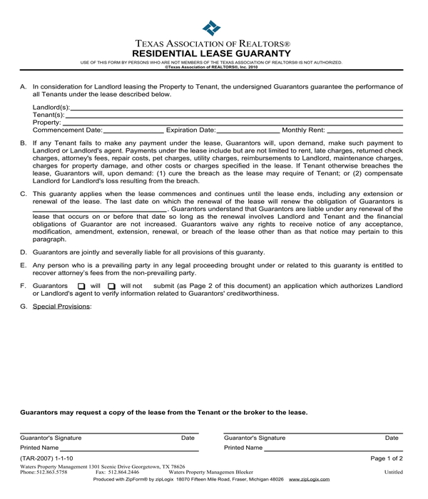 residential lease guaranty form