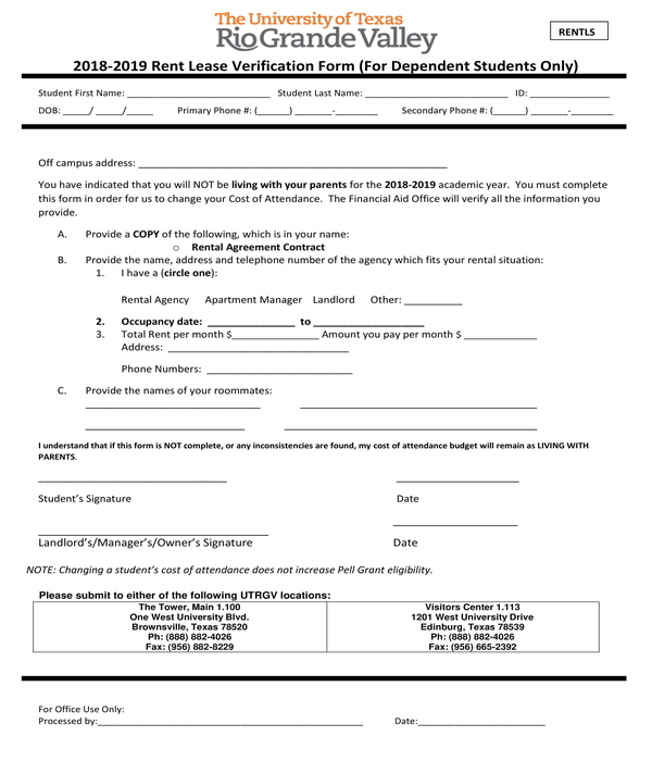 residential rent lease verification form