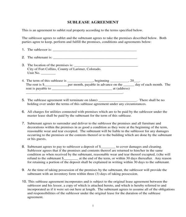 residential sublease agreement form