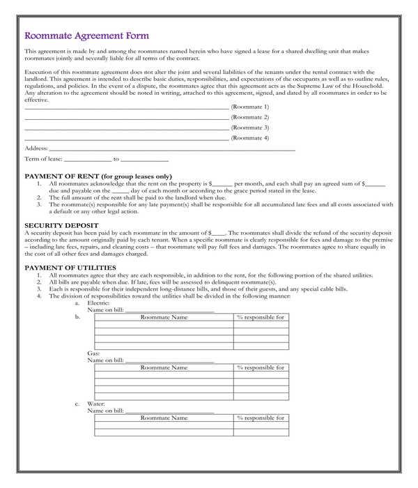 roommate agreement form sample
