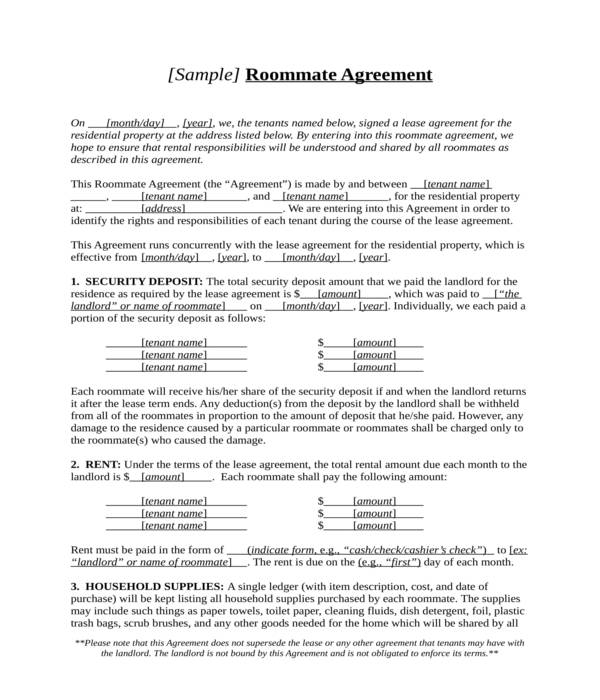 roommate agreement form in doc