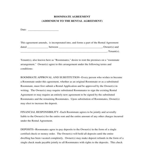 roommate rental agreement addendum form
