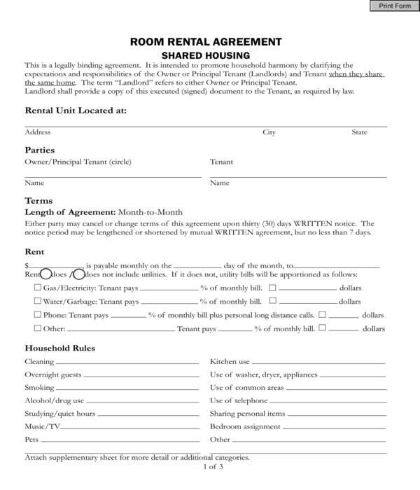 roommate room rental agreement form