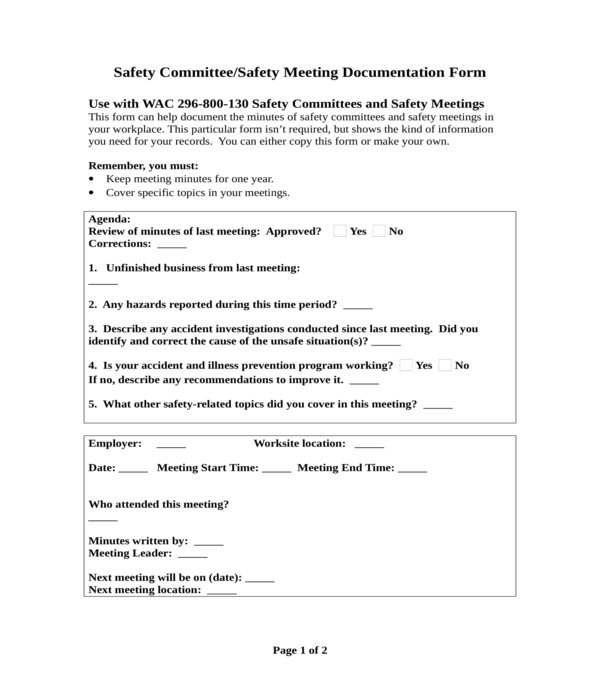 safety meeting minutes documentation form