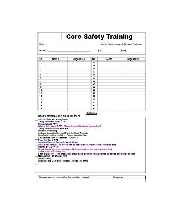 safety training meeting form