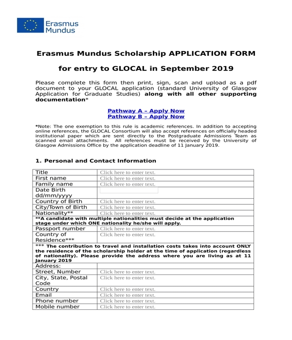 scholarship application form in doc
