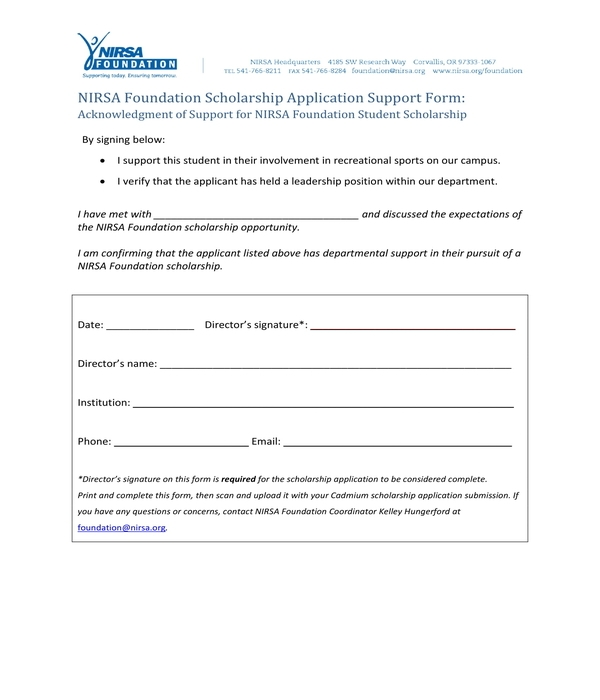 scholarship application support form
