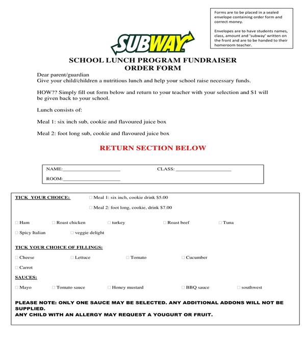 school lunch program fundraiser order form