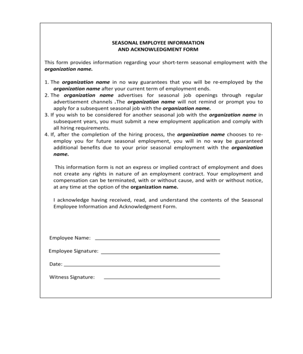 seasonal employee information and acknowledgment form
