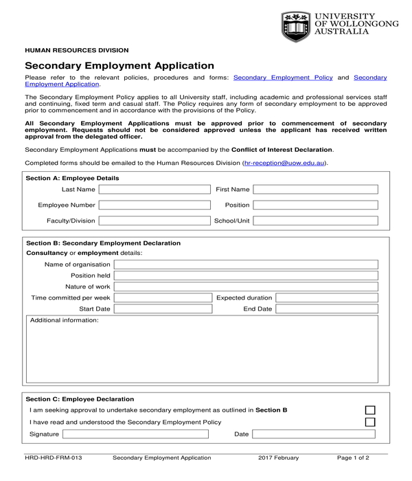 secondary employment application form