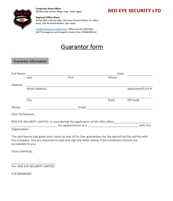 security guarantor form