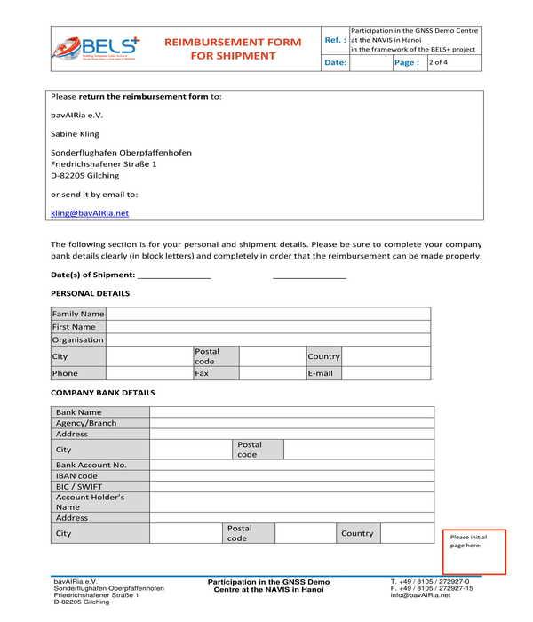 shipment reimbursement form