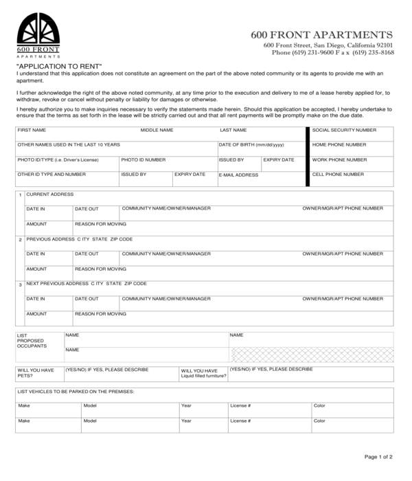 simple apartment rental application form