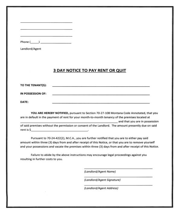 simple three day notice to pay rent or quit form