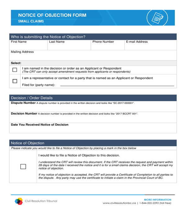 small claims notice of objection form