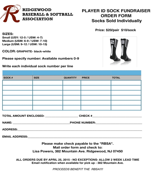 sock fundraiser order form