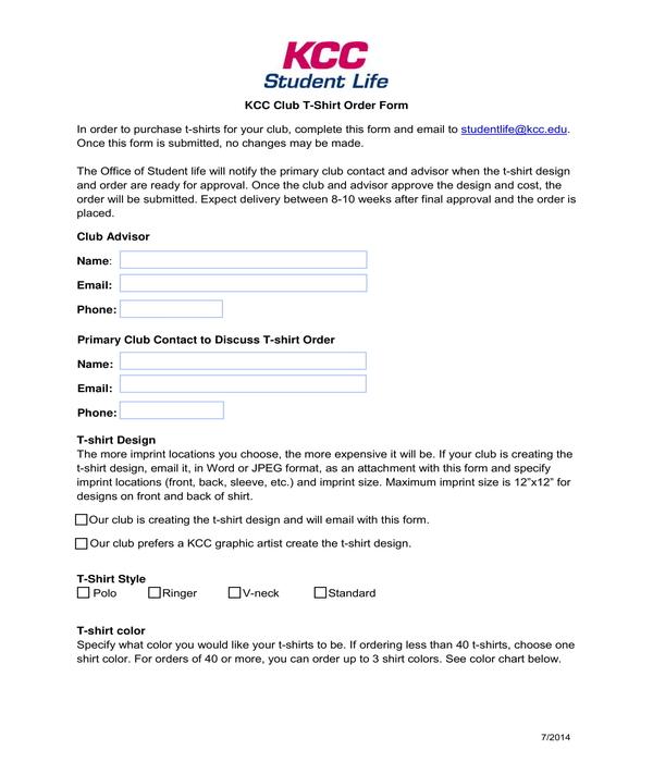 student club t shirt order form