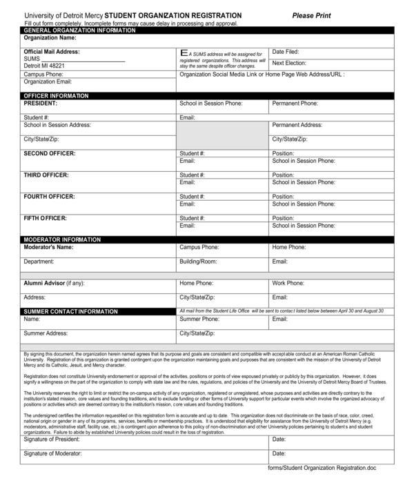 student organization registration form