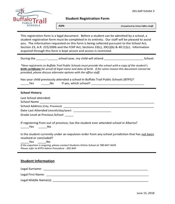 student registration form sample