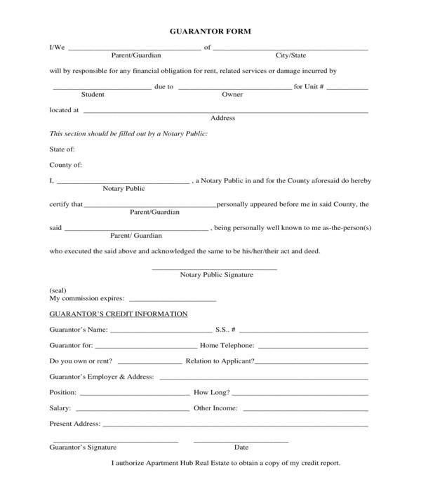 student rent guarantor form