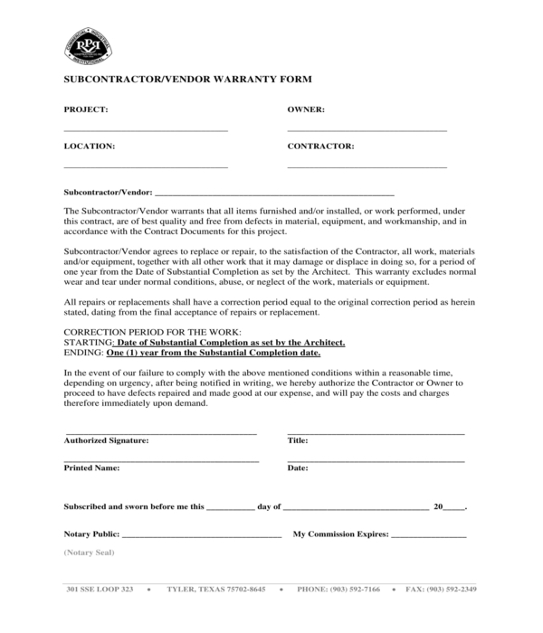 subcontractor vendor warranty form