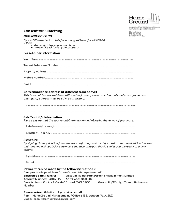 sublease consent application form