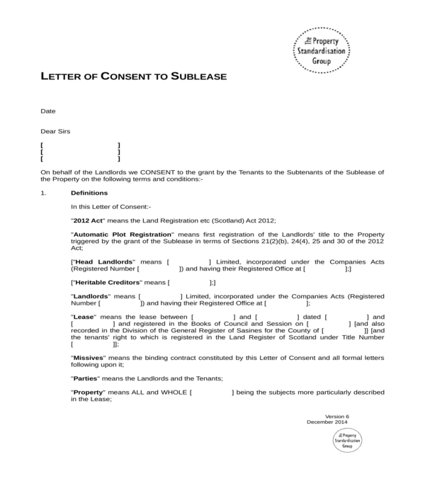 sublease consent letter form in doc