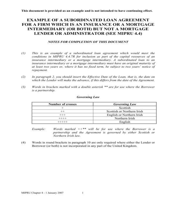 subordinated loan agreement form