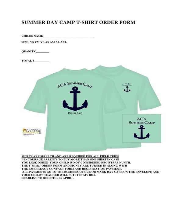 summer day camp t shirt order form