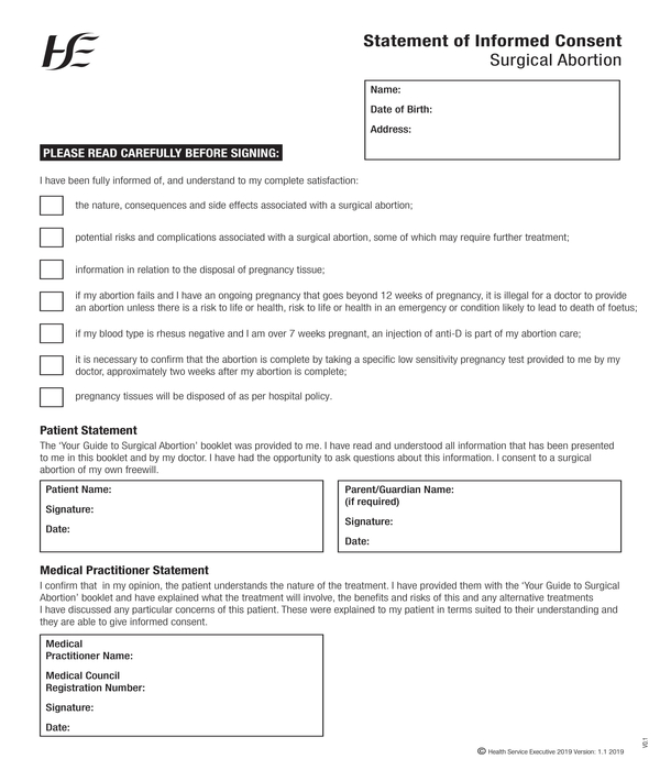 surgical abortion informed consent statement form