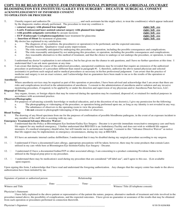 surgical consent form sample